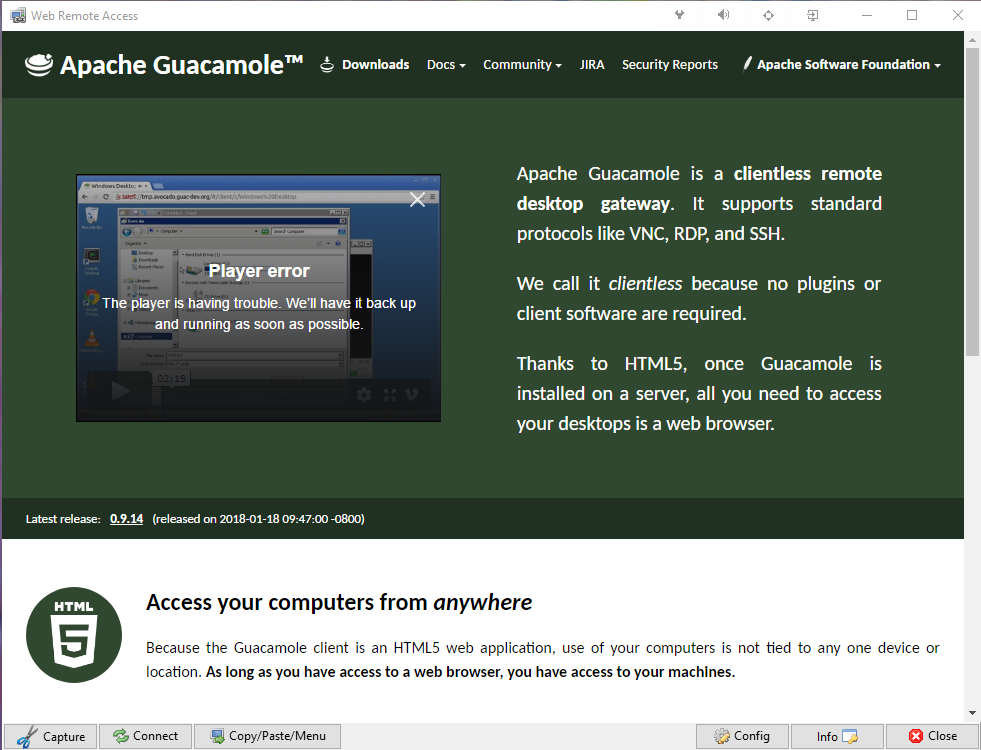 Apache Guacamole Remote Access App